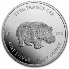 TCHAD 5000 Francs Argent 1 Once Hippopotame Mandala 2020