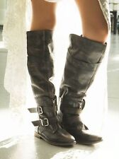 "NEW NWB FREE PEOPLE ""TRIGGER"" TALL TO THE KNEE BLACK BROWN LEATHER BOOTS SZ 6"