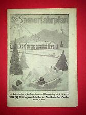 Fahrplan Sommerfahrplan 1975 VEB Thüringerwaldbahn - Strassenbahn Gotha ( F14374