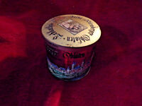 "Vintage German-Made Tin Container (4 1/2"" in Diameter) Beautiful Graphics Work"