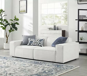 Modway Mingle Contemporary Modern 2-Piece Sectional Sofa Set in White