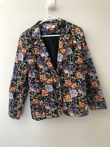 Miracle Black Floral Print Size 14 Y2K Button Jacket Blazer Orange Purple Roses