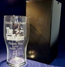 PERSONALISED ENGRAVED PINT GLASS Godfather Godmother Christening Gift Dad gift