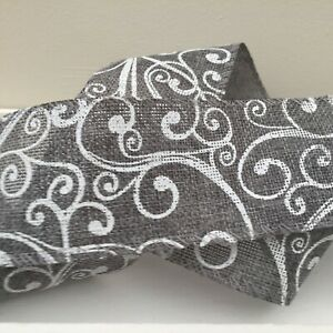 Grey & White Swirled Wired Christmas Ribbon For Bows,Wreaths, Card Making 1Mtr