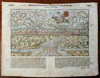 Schlettstatt Holy Roman Empire 1598 Munster Cosmography wood cut view hand color