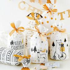 10/20/50Pcs Christmas Deer Bear Party Gift Drawstring Stocking Bag  #Clearance