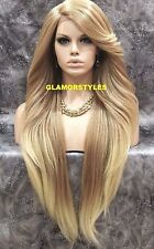 """38"""" Layered Golden Bleach Blonde Mix Full Lace Front Wig Heat Ok Hair Piece NWT"""