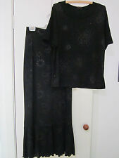 BLACK SKIRT AND TOP BY SUJI KIM SIZE 10/12 WITH SILVER PATTERN