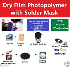Dry Film Photoresist + 50 Gram Solder Mask + Copper Clad + Etchant - EPK069