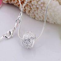 ASAMO Damen Herren Halskette Ring Anhänger 925 Sterling Silber plattiert H1024