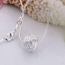 Damen Herren Halskette Ring Anhänger 925 Sterling Silber plattiert Schmuck