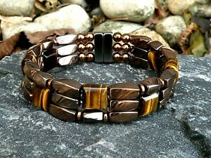 Therapy Magnetic Copper Hematite Bracelet Anklet Brown Tigers Eye 3 row