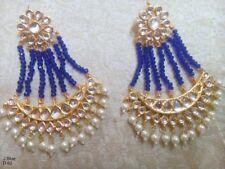 Traditional Ethnic GoldTone Earring Party Chand Bali Jhumka Top Blue Bead Kundan