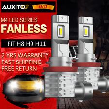 AUXITO H11 H8 FANLESS White LED Fog Light CSP Bulb Super Bright 6500K 3400LM