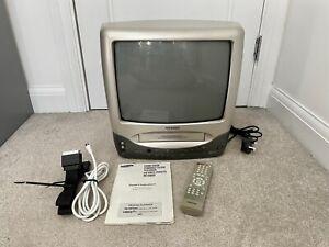 """Samsung TI-14B3 14"""" VHS VCR Combi Colour TV Television Retro Gaming w/ Remote"""