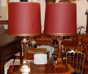 TISCHLAMPE STEHLAMPE MESSINGFUSS ENGLISCH 2 Stück Höhe 88 cm