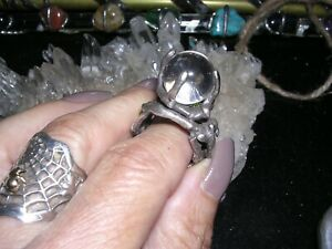 STERLING SILVER BURIAL GROUND THE BEHOLDER LARGE CRYSTAL BALL BLOODMILK RING