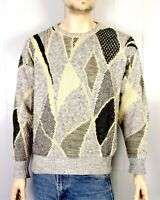 vtg 80s Club Europe Abstract Geometric Gray Yellow Crew Sweater Cosby sz L