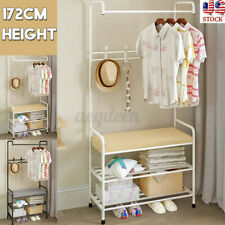 Iron Hat and Coat Bags Clothes Cloth Shoe Rack Stand Shelf Garment Hanger Hooks