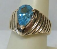14K Yellow Gold & Pear Shape Blue Topaz 12mm x 8mm Ring 11g Size 8