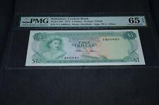 PMG Graded Bahamas, Central Bank Banknote Gem Unc 65 p35b 1974 $1