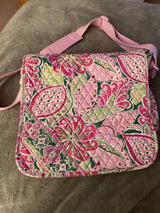 Vera Bradley Pinwheel Pink Messenger Bag/Satchel/Organizer with Pink Paisley