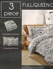 Morgan 3-Piece Full Queen Comforter Set White Black MSRP $80