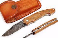 """Damascus steel blade  POCKET KNIFE,FOLDING KNIFE ,PAKKAWOOD HANDLE .4,50""""CLOSED"""