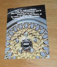 BBS Alloy Wheels Brochure 1981BMW E21 VW Golf Porsche Mercedes BMW - French Text