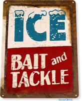Ice Bait Tackle Fish Fishing Marina Beach Lake House Cottage Cabin Metal Sign