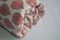 Indian Handmade Block Print Fabric By 3 Yard Ethnic Cotton Voile Leaf Fabric #
