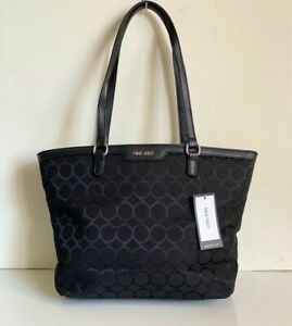 NEW! NINE WEST VIVIANNA JET BLACK SATCHEL SHOPPER TOTE BAG PURSE SALE