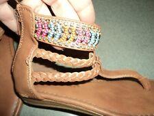 Rampage Girls Sandals Size 11 ~ Zipper up back.  Beading.  Big toe seperator