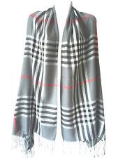 Lady Women Blanket Oversized Tartan Scarf Wrap Shawl Plaid Cozy Checked Pashmina
