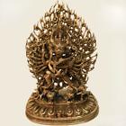 11  Tibet Buddhism Bronze Temple Buddha Yamantaka Yama Dharmaraja Buddha Statue