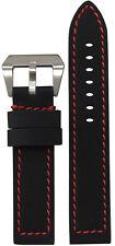 22mm Panatime Black Kevlar Style Flat Watch Band w/Red Stitching 22/22 125/75