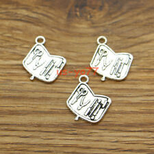 30 Tool Box Charm Tool Kit Case Carpenter Charms Antique Silver 16x18mm 3236