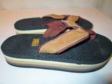 NOS Vintage 80s RAINBOW Flip Flops Three Color Brown Tan Cream Child Sandals 1