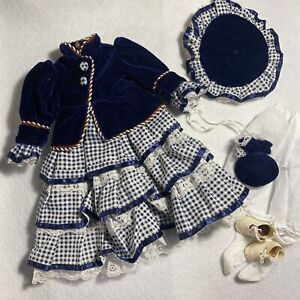 """Doll Dress Victorian Style VTG Blue Velour Hat Ruffles Lace For 15"""" Dolls Shoes"""