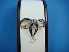 ANTIQUE 18K GOLD BLUE ENAMEL BOW BROOCH ACCENTED BY ROSE CUT DIAMONDS & PEARLS