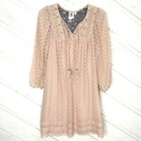 Anthropologie One September Babydoll Lace Dress SMALL S Lace Shift Boho Mini
