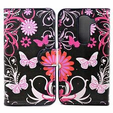 Butterfly Printed Folding Card Wallet Leather Mobile Phone Case For LG G2 Mini