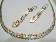 """Vtg 14k Tri Color Gold 15 1/2"""" Necklace & Dangling Pierced Earring Set 16.7gr"""