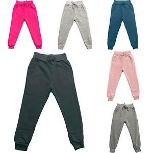 Boys Joggers Plain Girls Kids Jogging Sports Tracksuit Bottoms PE School Fleece
