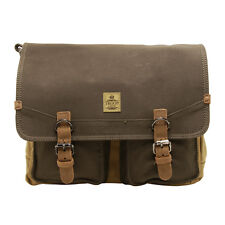 Troop London - Green & Camel Canvas Heritage Messenger Bag with Leather Trim