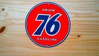 VINTAGE UNION 76 GASOLINE PORCELAIN SIGN GAS OIL PUMP PLATE SERVICE STATION RARE