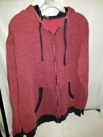 Burnside Men's Red & Black Plaid Full Zip Hoodie Size Large GUC