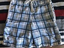 MOSSIMO SUPPLY CO. WHITE BLUE PLAID SWIM TRUNKS BOARD SHORTS w/ POCKETS SZ 32