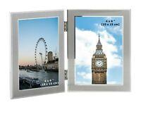 "2 Picture Folding Photo Frames Silver Colour Multi Aperture Double Twin 6 x 4"""