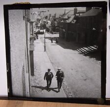 1900s HOLYHEAD STREET Scene - After King Edward VII Visit? Glass Photo Slide